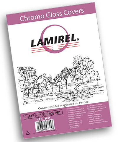 Обложка Fellowes LA-78691 Lamirel Chromolux A4, картонные, глянцевые, красный, 230г/м², 100шт