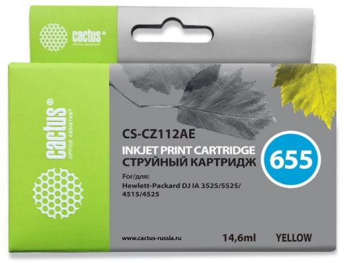 Фото - Картридж Cactus CS-CZ112AE №655 желтый для HP DJ IA 3525/5525/4515/4525 (14.6мл) картридж hp cz102ae 650 цветной dj ia 2615 200стр