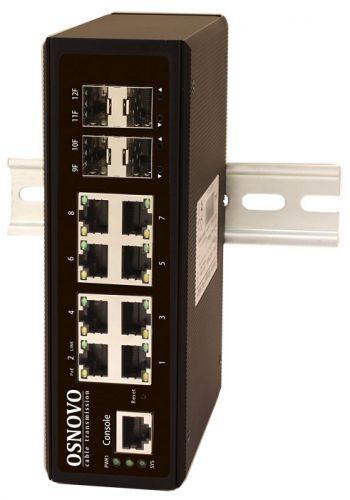 Коммутатор управляемый OSNOVO SW-70804/IL 8хGE Rj45 + 4 GE SFP. 8 x GE (10/100/1000Base-T) + 4 x GE SFP (1000Base-X). L2 (Full Managed). Питание DC12-