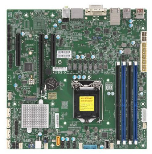 Материнская плата mATX Supermicro MBD-X11SCZ-Q-O (LGA1151v2, Q370, 4*DDR4(2666), 5*SATA3 6G RAID, M.2, 3*PCIE, 2*Glan, DVI, 2*DP, 7*USB 3.1, USB Type- материнская плата supermicro mbd x12sae o lga1200 w480 4 ddr4 2933mhz 4 sata 6gb s raid 2 m 2 2 5glan glan 5 pcie 7 usb 3 2 usb type c 2