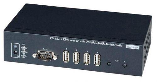 Приемник SC&T VDKM01BR KVM: DVI/VGA/USB/аудио, RS232 и ИК сигналов по Ethernet с расстояний до 150м (CAT5e), до 180м (CAT6), позволяет принимать видео