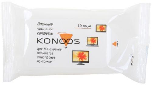 Салфетка Konoos KSN-15 для ЖК-экранов ноутбуков, смартфонов, КПК, покетпак 15 шт.