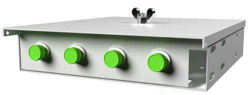 Кросс оптический настенный коробочный TELCORD КН-4 4-FC/APC-4-FC/APC-SM-GY 163х123х23 мм, 4 адаптера FC/APC, 4 пигтейла FC/APC SM (OS2 9/125), серый